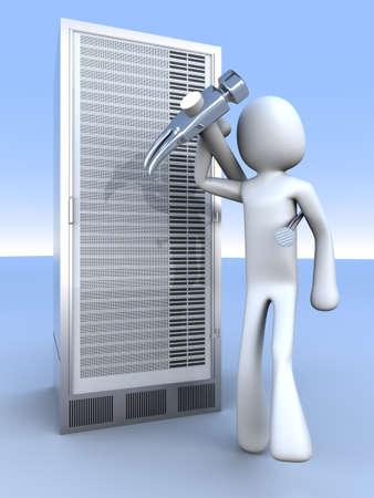 Repairing a Server tower. 3d rendered Illustration. illustration