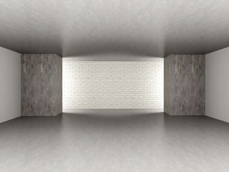 3D rendered Illustration. An empty room. Dark concrete style.