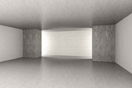 3D rendered Illustration. An empty room. Dark concrete style. illustration