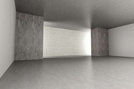 3D rendered Illustration. An empty room. Dark concrete style. Stock Illustration - 11300274