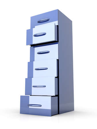 3D rendered Illustration. A filing cabinet. Isolated on white. illustration