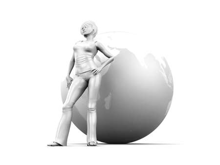 immigrate: A global living Woman. Conceptual 3D rendered Illustration. Isolated on white.