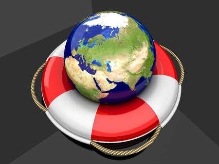 A global life belt. 3d rendered Illustration.  Stock Photo