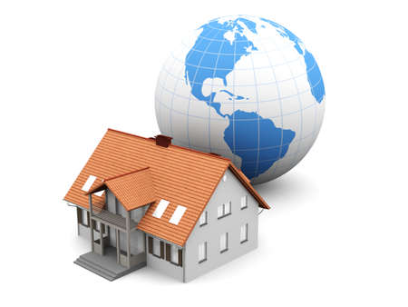immigrate: Real estate arround the World. 3D rendered Illustration. Isolated on white. Stock Photo