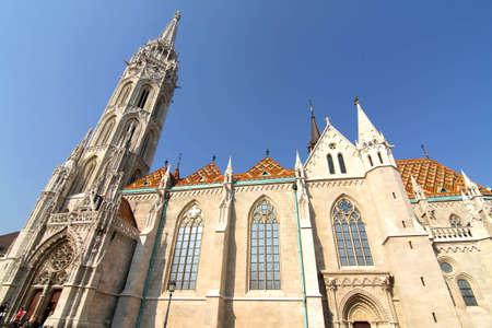 matthias: The Matthias Church in the Fisher Bastion in Budapest, Hungary, Europe. Stock Photo