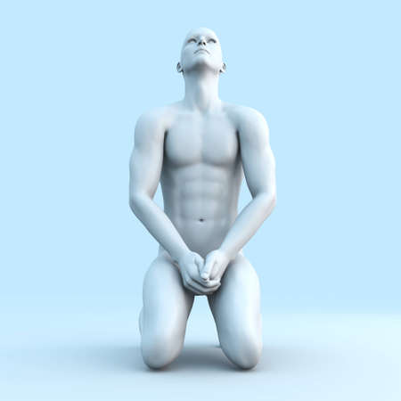 nude man: Symvolic 3D rendered illustration of a generic male human meditating in the dragon seat asana.