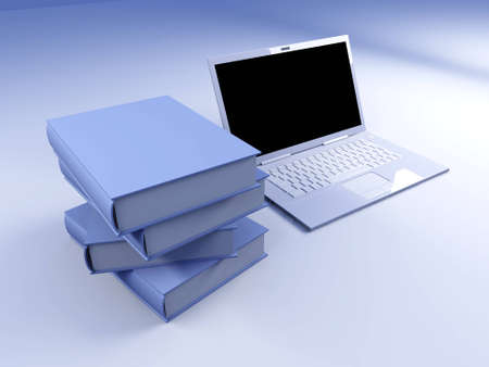 lyric: A Laptop with books. 3D rendered illustration.   Stock Photo