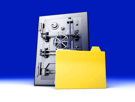 A secure, locked, directory. 3D rendered illustration. Stock Illustration - 11545345