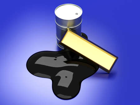 commodities: Gold and Oil, two commodities on the stock market. 3D rendered Illustration. Stock Photo