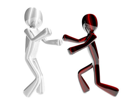 Two fighting Cartoon figures. 3D rendered Illustration. Isolated on white. illustration