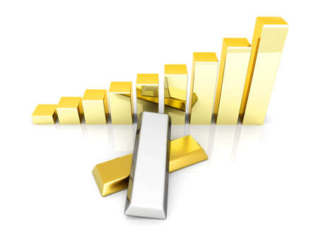 Rising value of precious metals. 3D rendered Illustration. Isolated on white.  illustration