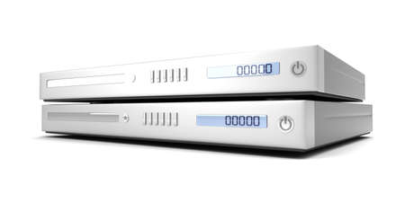 bluray: Two generic bluray  DVD devices. 3D rendered Illustration.