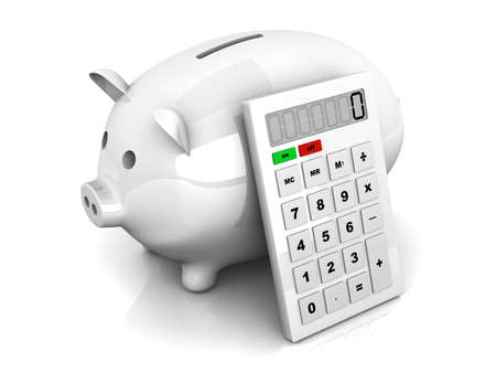 3D rendered Illustration. Isolated on white. A piggy Bank with a calculator. Stock Photo