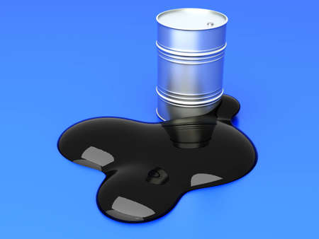 leakage: A leaking oil barrel. 3D rendered Illustration. Stock Photo