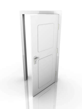 The Door is open for you... 3D rendered Illustration. Isolated on white. illustration