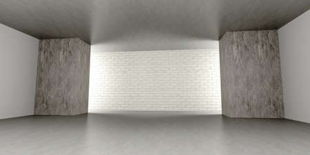 warehouse interior: 3D rendered Illustration. An empty room. Dark concrete style.