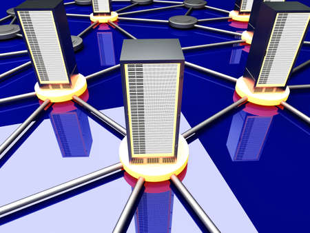 Connected cloud of 19 inch server towers. 3D rendered illustration. Stock Illustration - 11546213