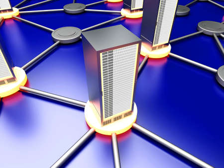 Connected cloud of 19 inch server towers. 3D rendered illustration. illustration
