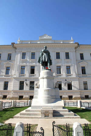 pecs: Statue of Kossuth in front of a governmental building in Pecs, Hungary. Editorial