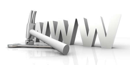 3D Illustration. Website is under construction. Isolated on white. Stock Illustration - 11924192