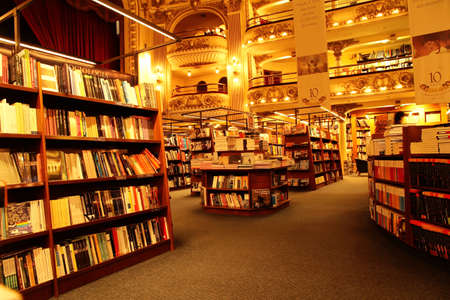 bookshop: A Bookstore in Buenos Aires, Argentina, South America. Editorial use only! Editorial