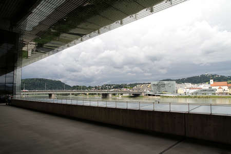 linz: The city of Linz, Austria, Europe. View from the Kunstmuseum (Museum of art). Editorial