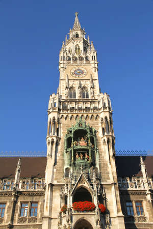 Historic building in the center of Munich, Germany. The Rathaus at the Marienplatz.