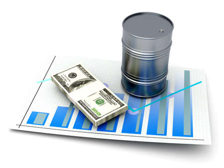 commodity: Oil performance in the commodity market. 3d rendered Illustration. Isolated on white.