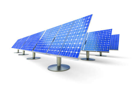 solarcell: 3D rendered Illustration. A line of solar panels, isolated on white. Stock Photo