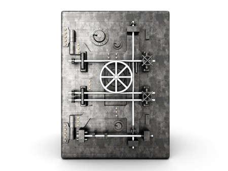 Een bank veilig. 3d teruggegeven illustratie. Geà ¯ soleerd op wit.
