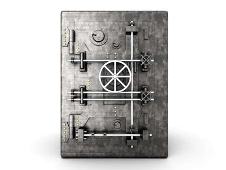 iron defense: A bank safe. 3D rendered Illustration. Isolated on white.