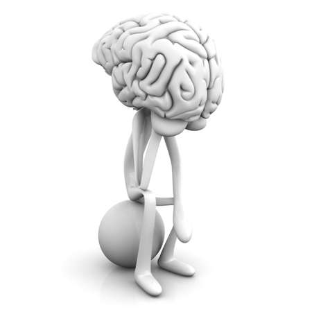 A cartoon figure con a huge brain. 3D rendered illustration. Isolated on white.
