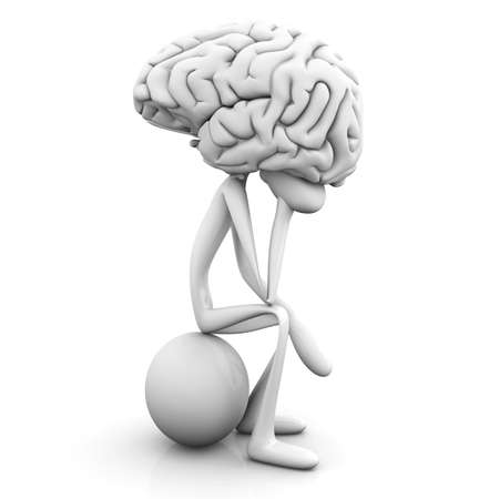 brain and thinking: A cartoon figure con a huge brain. 3D rendered illustration. Isolated on white.