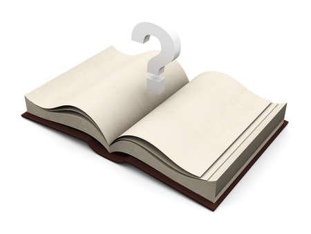 Questionmark over a book. 3D rendered Illustration. illustration