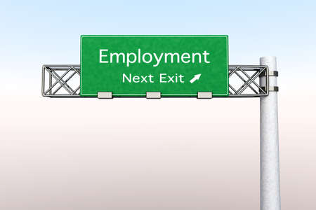 3D rendered Illustration. Highway Sign next exit to employment.   Banque d'images