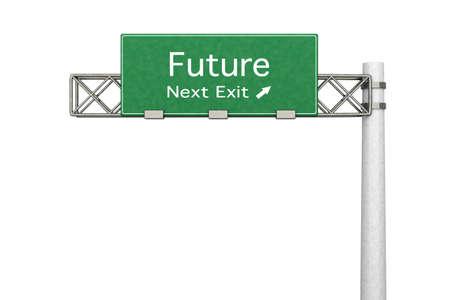positivismo: 3D representa la ilustraci�n. Muestra de la carretera Futuro pr�xima salida. Aislado en blanco. Foto de archivo