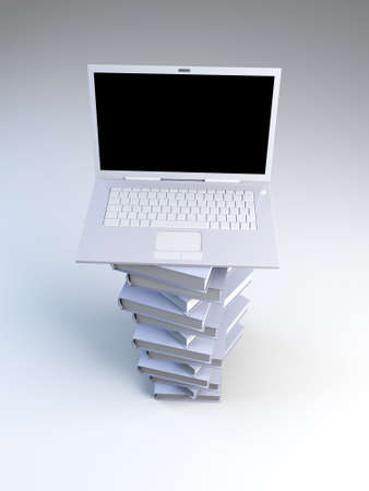 A Laptop with books. 3D rendered illustration.   illustration