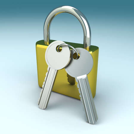 A padlock with keys. 3D rendered Illustration. Stock Illustration - 11997384