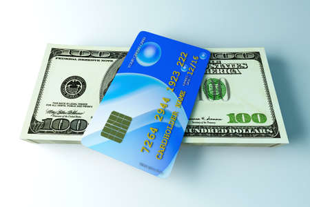 3D rendered Illustration. Credit card and cash. illustration