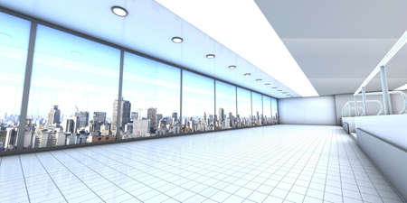visualisation: A empty office with the Skyline of Sao Paulo, Brazil, in the Background. Architectural visualisation. 3D rendered Illustration. Stock Photo