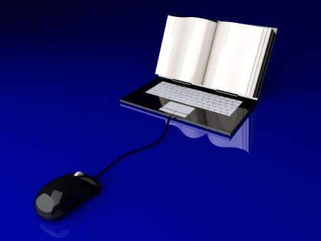 lookup: A digital book  on a laptop screen. Symbolic 3D rendered Illustration. Stock Photo