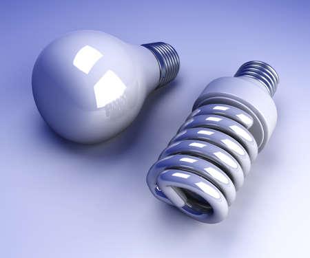 bombillo ahorrador: Un cl�sico y una energ�a moderna l�mpara ahorro de energ�a. 3d rindi� la ilustraci�n.