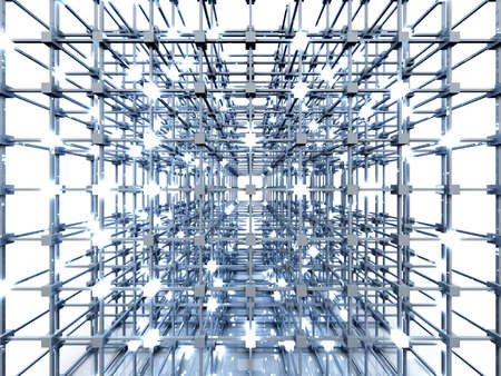 distributed: 3D rendered Illustration. A glowing grid.  Stock Photo