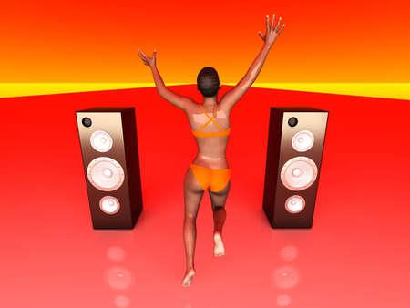 Jumping in Joy. 3D rendered Illustration.   illustration