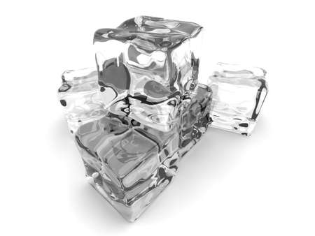 froze: 3D rendered Illustration. A Ice cube. Isolated on white.