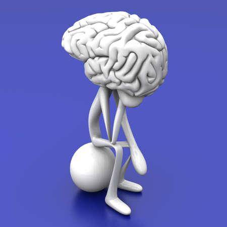 A cartoon figure con a huge brain. 3D rendered illustration.  Reklamní fotografie