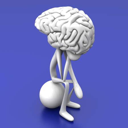 A cartoon figure con a huge brain. 3D rendered illustration.  Stock Photo