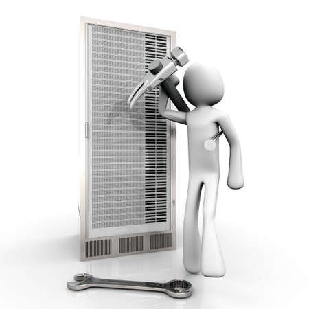 Repairing a Server tower. 3d rendered Illustration. Isolated on white. illustration