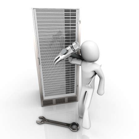 Repairing a Server tower. 3d rendered Illustration. Isolated on white. Stock Photo