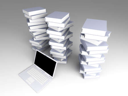 A Laptop with books. 3D rendered illustration.   illustration